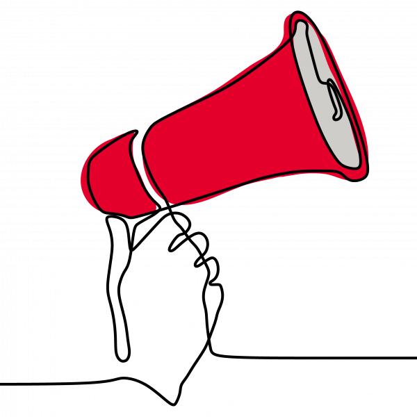 a hand holding a red megaphone